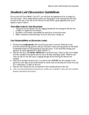 Student-Led Discussion Guidelines