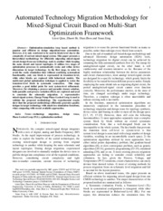 Automated Technology Migration Methodology for Mixed-Signal Circuit Based on Multi Start Optimizatio