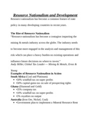 Resource Nationalism and