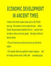 2-ECONOMIC DEVELOPMENT IN ANCIENT TIMES