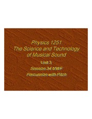 The Sciene and Technology of Music Sound - Percussion with Pitch