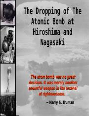 Motives For Dropping Atomic Bomb