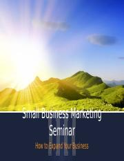 Small Business Marketing Seminar