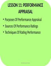 Lesson 11- Performance Appraisal