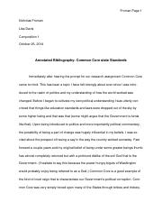 Annotated Bibliography - COMMON CORE