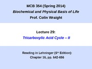 MCB 354 Tricarboxylic Acid Cycle Part 2 Lecture