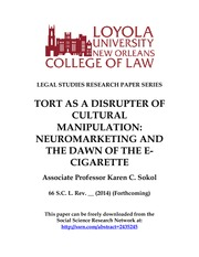 Sokol (2014) Tort as a disrupter of cultural manipulation....dawn of e cig (don't cite without permi