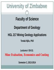 HGL 217 Mining Geology Applications Lectures 30-31