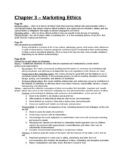 Study Guide - Chapter 3 - Marketing Ethics