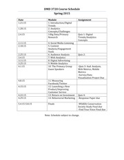 Course Schedule Spring 2015