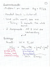 PHYS 100 Spring 2011 Work and Energy Lecture Notes