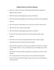 Timeline for History of University Assignment