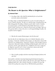 Kant, Enlightenment Study Questions