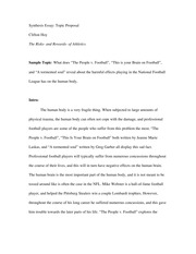 Synthesis Essay; Topic Proposal
