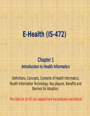 IS 472_Lecture_1_Introduction to Health Informatics