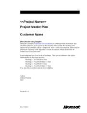 Barebones Project Master Plan
