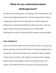 What do you understand about Anthropocene