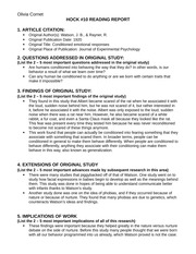 Hock 10- Reading Report Template