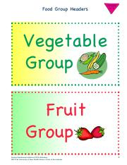 Elementary Food Group Headers 2A