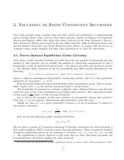 Valuation of State Contingent Securities