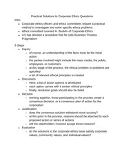 Practical Solutions to Corporate Ethics Questions notes