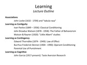 Learning: Lecture Notes
