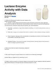 Lactase Enzyme Activity - with Data Analysis.docx