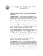 Major Developments In The Humanities Docx