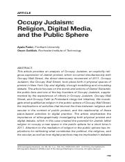 Occupy Judaism Religion Digital Media and the Public Sphere