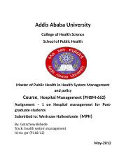 Assignment 1 on Hospital management for PG students ..docx