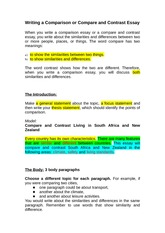 Writing a Comparison or Compare and Contrast Essay