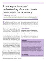 Exploring senior nurses' understanding of compassionate leadership in the community