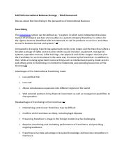 MGT505 International Business Strategy – Third Homework 3