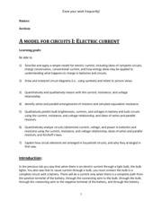 Lab 3 - A Model For Circuits I Electric Current(1)