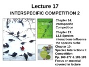 Lecture 17 Interspecific Competition II post