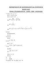 Math 1823 Final Exam April 1999 SOLUTIONS