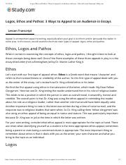 Logos, Ethos and Pathos- 3 Ways to Appe... Video & Lesson Transcript | Study.com