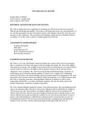 Mental Status Exam Report Sample - Mental Status Exam ...