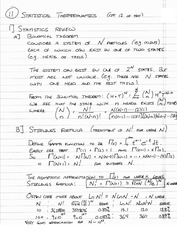 Phys 310 Statistical Thermodynamics Notes