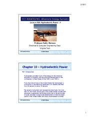 Lecture 10A - Hydroelectric Power - Part 1