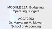 Module 13A-Budget-Operating Budgets