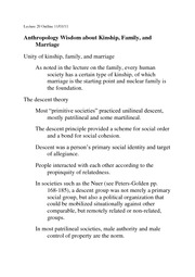 Lecture 20 Kinship family and marriage