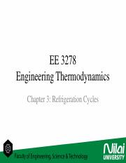 EE3278 - Engineering Thermodynamics - Refrigeration Cycles