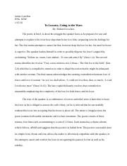 ENG 165W-To Lucasta, Going to the Wars.docx