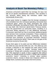 Analysis of Bush Tax Monetary Policy.docx
