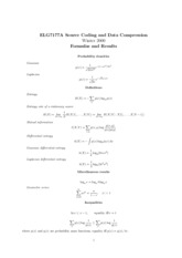 Formulas and Results2 for Source coding and data compression
