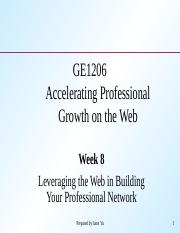 W08-Leveraging the Web and Building Your Professional Network