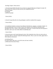 sociology essay and answer