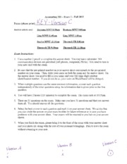 Acct 285 - Fall 2013 - Exam 1 KEY with work