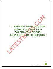 FIA Past paper 15 pdf - FEDERAL INVESTIGATION AGENCY SOLVED